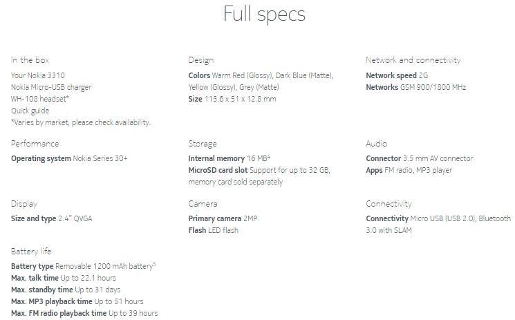 Nokia 3310 Specifications